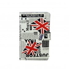 """Ipad PC Keyboard Leather Case for All Pad Tablet PC w/ Adjustable Buckle & Handwriting Pen 7"""" 8"""" 9"""" 9.7"""" 10"""" inch England Flag White"""