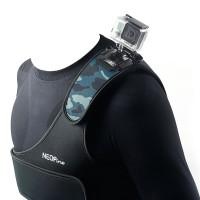 SCM-1 Camouflage Adjustable Shoulder Strap Elastic Fibre and Plastic Shooting Action Sports for Gopro Hero 3 3+ Blue