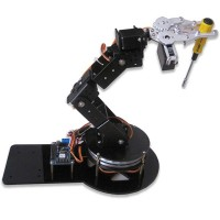 Assembled AS-6DOF Aluminium Robotic Arm Metal Arduino Robot Teaching Platform Black
