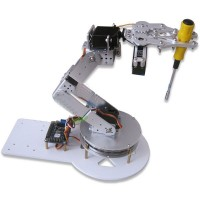 Assembled AS-6DOF Aluminium Robotic Arm Metal Arduino Robot Teaching Platform Silver