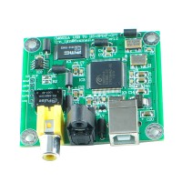 CM6631A 24bit/192khz USB to Coaxial and Optical Fiber SPDIF and I2S Circuit Board + Transparent Shell Kits