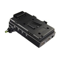 Lanparte A-mount Battery Pinch DSLR Power Supply Battery Plate VBP-01 with V-lock HDMI Splitter & 15mm Rods Clamp