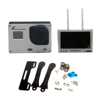FPVfactory FPV HD Gopro Camera with Diversity Receiver Monitor(White) & Carbon Fiber Holder for FPV Photograph