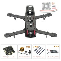 250mm Carbon Fiber 4 Axis Mini Quadcopter + CC3D Flight Controller & DYS BE1806 & Hobbywing XRotor 10A ESC