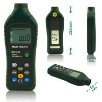 MASTECH MS6208B LCD Digital Laser Photo Tachometer RPM Meter Non contact Tacometro Rotation Speed 50RPM-99999RPM Data Storage