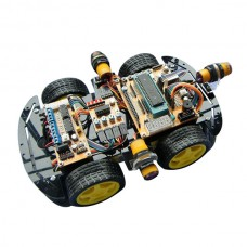 Smart Car Kits 51 Singlechip Machine Ultrasonic Obstacle Avoidance Remote Control Tracking Car ZK-4WD