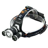Boruit 5000 Lumen Headlamp CREE XML T6*3 RJ3000 Led Headlight 4Mode Rechargable Head Lamp