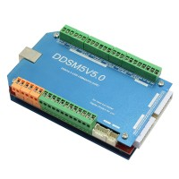 CNC 200KHz USBMACH3 Interface Board DDSM5V5 5 Axis Breakout Board Control Card w/ Aluminum Case