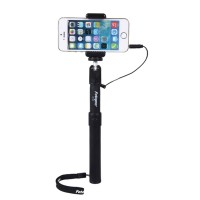 Selfie Monopod Handheld Stick + Phone Holder with Wired Remote Controller For Samsung iPhone Lover Friend Gift Black