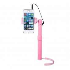 Selfie Monopod Handheld Stick + Phone Holder with Wired Remote Controller For Samsung iPhone Lover Friend Gift Pink