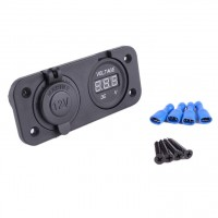 Waterproof Socket Power Outlet Volt Meter Panel Mount Marine 12 /24 V Voltmeter