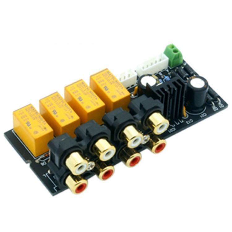 4 CH Audio Input signal Selector Relay Board// Signal switching amplifier board