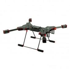 H4 680mm Alien Carbon Fiber Folding Quadcopter Frame Kit w/ CF Landing Gear for FPV Red Aluminum Fixture Version