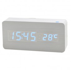 Creative Clock Mute Modern Noctilucent White Wooden Clock Blue LED Display