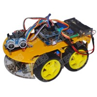 Yellow 4WD Smart Robotic Car Chassis+L293N+Bluetooth +Ultrasonic Sensor Tracking Robot Car+ Encoding Disk Set + 1602I2C Display