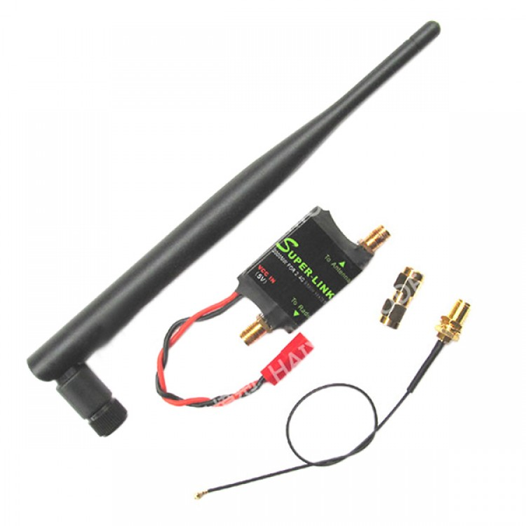 2 4G 2W Radio Signal Amplifier Booster + Antenna + Feeder Line for