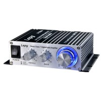 Lepy Class T LP-2024A+ HI-FI Mini Digital Stereo Digital Small Power Audio Amplifier with Power Adapter Black