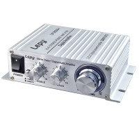 Lepy Class T LP-2024 HI-FI Mini Digital Stereo Digital Small Power Audio Amplifier with Power Adapter Silver