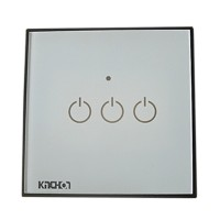 Touch Screen Panel AC220-250V Remote Control Free Stick Switcher with LED Backlight Glass Panel Wall Switch