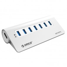 AB0108 ORICO M3H7 7 Port 7-Port Super Speed USB3.0 Hub USB 3.0 VL812 Chip with 12V/3A Power Adapter