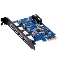 Orico PRU3-4P Desktop PCI-E 4 Ports USB3.0 Expansion Card HUB for Win8 Desktop Computer