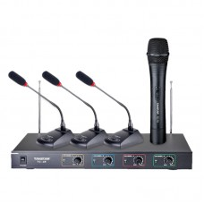 Takstar TC-4R VHF Wireless Microphone System 3 Conference Mic+1 Handheld Micphone for Conference lecture Outdoor Activities