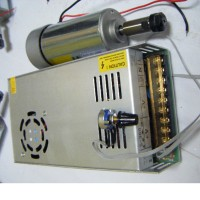 Air-Cooled High-Speed Spindle Motor DC12-48V 300W with Power Supply for Engraving Machine CNC