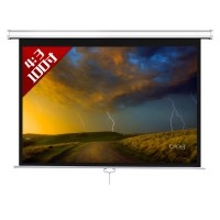 100inch 4:3 Hand Pulling Self-Locking HD Projector Screen Portable White Curtain Screen Wall Hanging