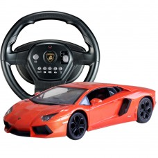 HuanQ 671 Steering Wheel Remote Control RC Car Sports Car Drift Toy for Kids Orange-Red