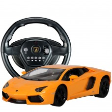 HuanQ 671 Steering Wheel Remote Control RC Car Sports Car Drift Toy for Kids Orange-Yellow