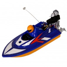 Mini 40MHz Wireless Remote Control Boat Toy RC Racing Speedboat for Kids-Blue