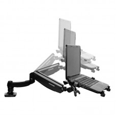 Gas Spring Laptop Mount Display Computer Rack Retractable Notebook Bracket Holder for 10-27inch Monitor w/Fan