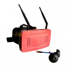 "5.8G 32CH 5"" FPV Wireless Receive Glasses 3D Video Goggle OSD Display FM via Touching-Red"