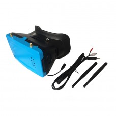 "5.8G 32CH 5"" FPV Wireless Receive Glasses 3D Video Goggle OSD Display FM via Touching-Blue"