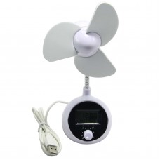 HK-F2027 Portable USB Fan Cooling Desktop Fan with Time Calendar Temperature Display for Computer Laptop