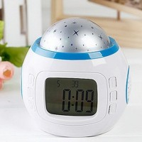 Music Starry Star Sky Desktop Table Clock Despertador Projection Alarm Clock Calendar Thermometer