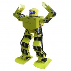 16DOF Robo-Soul H3.0 Biped Robotics Two-Leg Human Robot Aluminum Frame Kit with Servos & Helmet - Green-Yellow