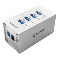 ORICO A3H4 Super Speed 4 Ports USB3.0 HUB with 12V2.5A Power Adapter for Laptop Computer-Silver