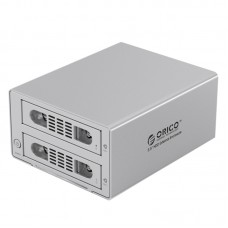 RICO 3529NAS 2-Bay RJ-45 Gigabit External Network Storage USB3.0 6TB Raid NAS 3.5'' HDD Enclosure BT PT Download-Silver