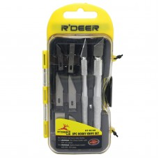 R'DEER RT-M108 10 Pieces Precision Crafts Hobby Knife Cutting Tools Cutter Kit w/8 Assorted Interchangeable Blades