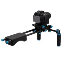 YLG0102F Light Portable Video Stabilizer Shoulder Mount with Double Handle Grip for DSLR Cameras Camcorders