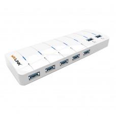 Portable USB 3.0 HUB 7 Ports Splitter 5Gbps Adapter for Phones PC Desktop Laptop
