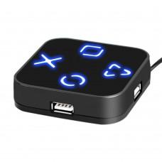Magic Mirror Hub USB 2.0 4 Port Hub Blue Light Splitter for PC to connect U-Flash Disk USB Card Reader Mouse Keyboard