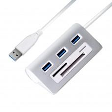 USB HUB Aluminum 5Gpbs USB 3.0 HUB Splitter Adapter USB3.0 HUB USB 3.0 Card Reader Support SD Micro SD TF CF Card