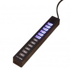 Acasis H018 13 Port High Speed USB 2.0 Hub LED Indicator Dual Switches with Power Adapter for Phone PC Computer