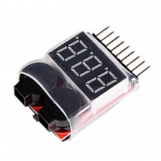 FMS 2-8S Lipo Battery Voltage Tester Low Voltage Alarm Buzzer for Aircraft Helicopter