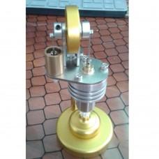 Hot Air Stirling Engine Model Generator Motor Improved with Alcohol Burner Holder Vertical Stirling Engine-Silver