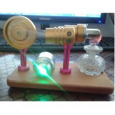 Hot Air Stirling Engine Model Generator Motor Improved with Alcohol Burner for DIY