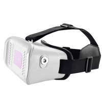 """VR Virtual Reality Glasses 3D Video Glasses for 3.5-6.0"""" Phone Google Cardboard with Bluetooth Controller-White"""