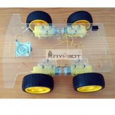 Anycbot Acrylic 4-Wheel Robot Development Smart Car Chassis for Arduino DIY